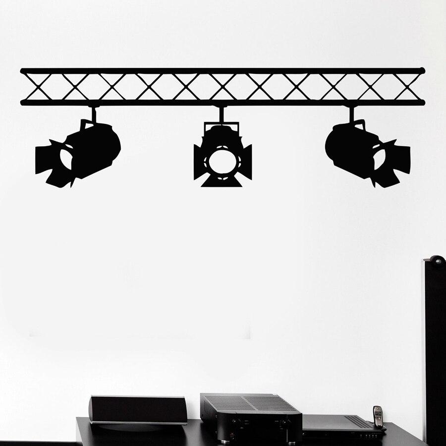 Studio Salon Interior Cinema Cinematography Mural Art Wall Decals Spotlights Vinyl Wall Sticker For Film Studio Company Decor