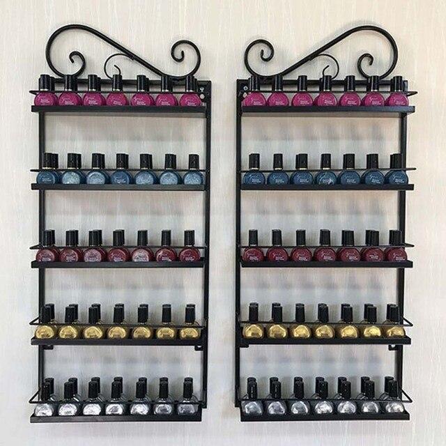 Wrought Iron Nail Polish Glue Shelf Display Nail Salons Cosmetics Storage  Hanging Shelf Rack Shelf