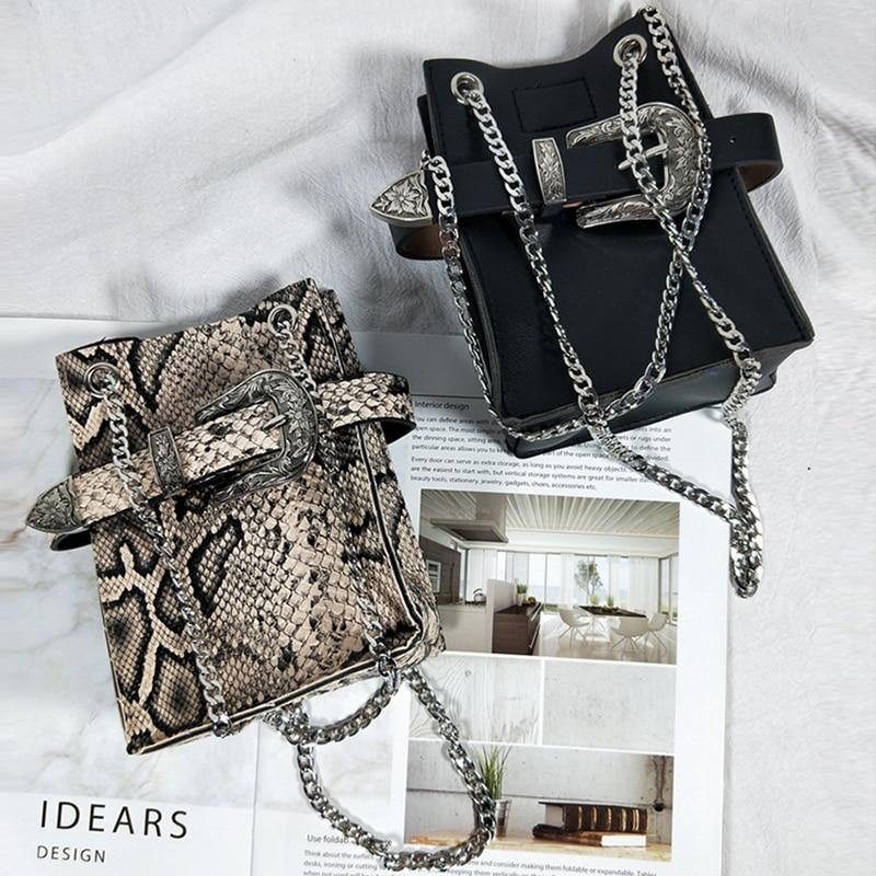 Women Fanny Pack Detachable Waist Bag Pu Leather Retro Snake Pattern Baroque Buckle Belt Bag 2019