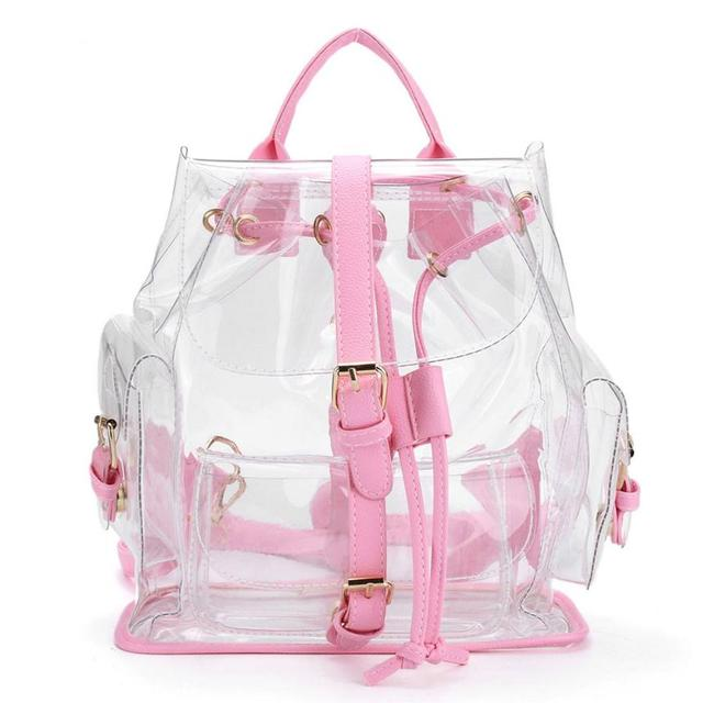 Backpack Women S Clear Plastic See Through Security Transparent Bag Travel Bagpack Sac A Dos
