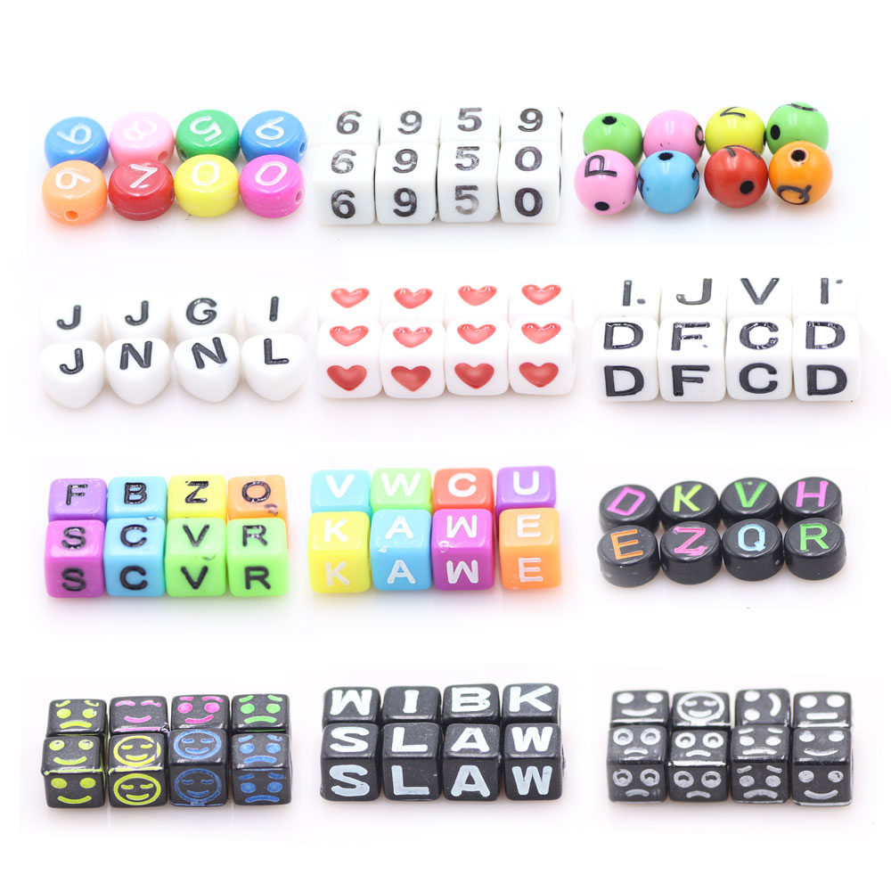 ZHUBI Beads Charms Bracelets-Accessories Jewelry-Making Alphabet Letter Square Mixed