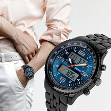 quartz digital sports casual wristwatch dual time display 30m water resistant wristwatches brand watches men's Fashion