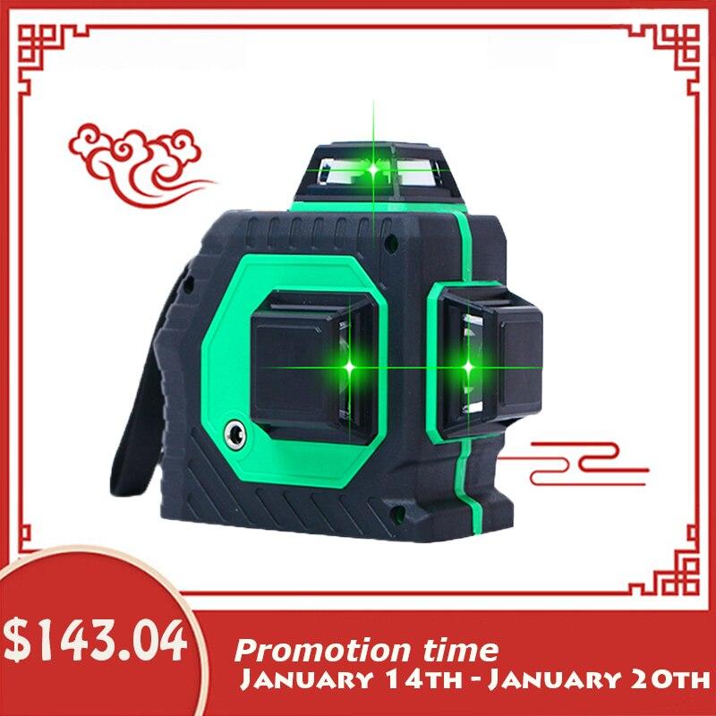 Xeast 12 lignes Vert faisceau 3D 360 degrés Rotatif Mur Multi croix Ligne Auto Auto-Nivellement Laser Level meter outil machine