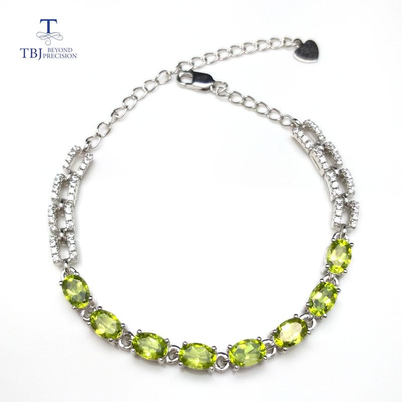 Tbj Natürliche Klassischen Armband Mit 4ct Natürliche Peridot Ov4 6mm In 925 Sterling Silber Elegante Edelstein Armband Für Frauen Als Geschenk
