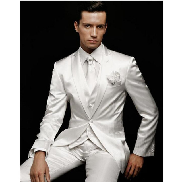 The latest Mens Suits White Wedding Suits For Men Peaked Lapel ...