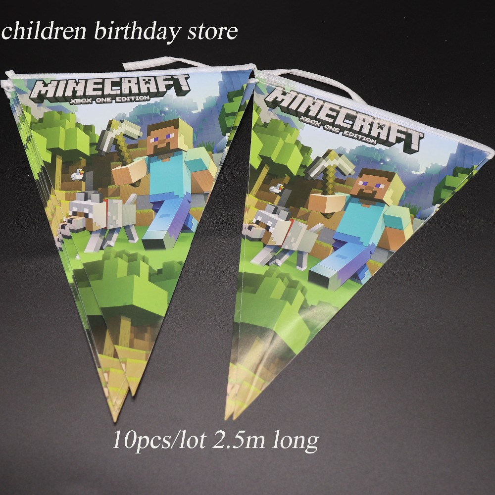 10pcs Lot Minecraft Party Banners Kids Birthday Decorations Flags Baby Shower Supplies