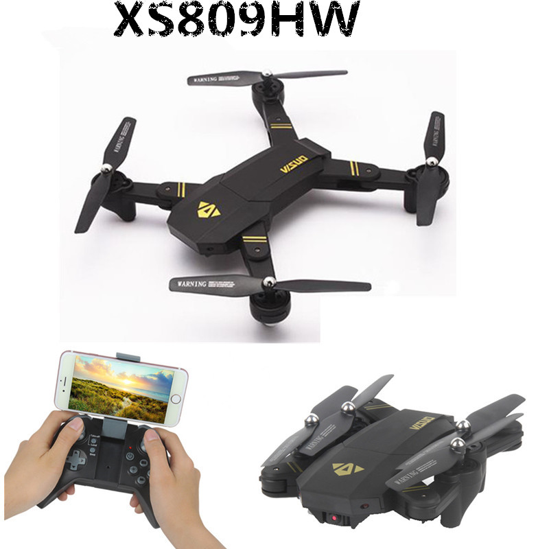 VISUO RC Drones XS809W XS809HW Foldable Quadcopter Mini Drone With Camera Altitude Hold RC Helicopter WiFi FPV Dron With 5 BET ...