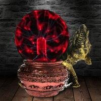 Złoty słoń figurka statua magiczna kula plazmy piorun kryształowy globus dotykowy Nebula Desktop rzeźby Halloween Decor w Błyszczące oświetlenie od Lampy i oświetlenie na