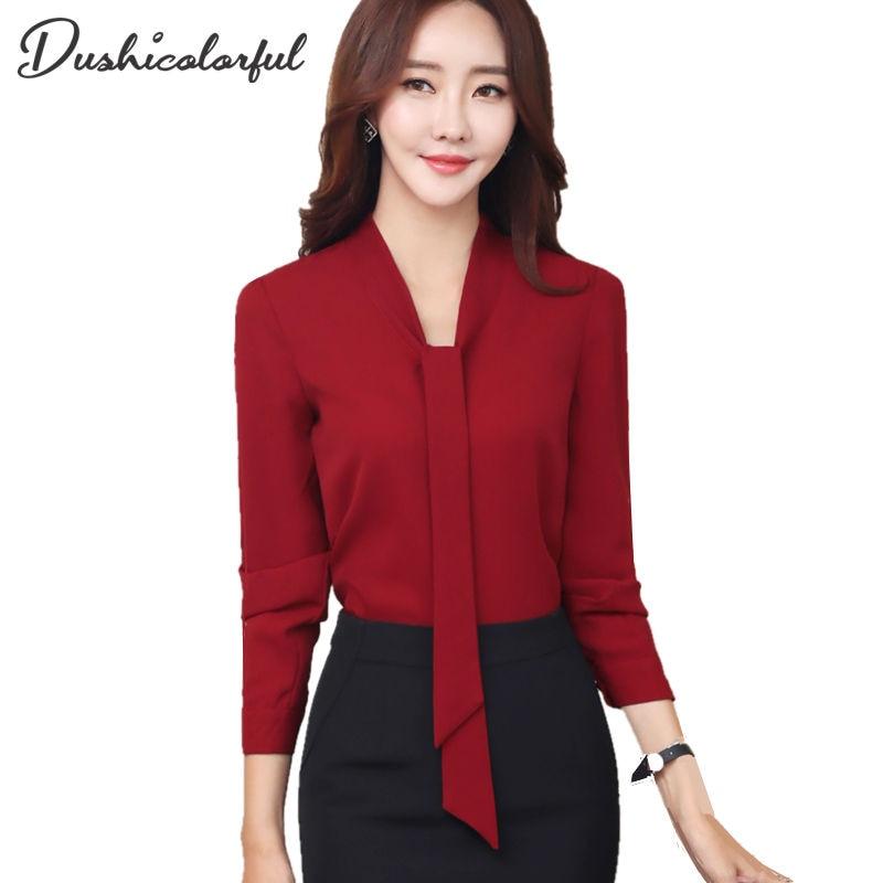 2019 Spring New Fashion Elegant Women Chiffon Blouses Office Lady Long Sleeve Shirt Formal Blusas High Quality Plus Size Tops
