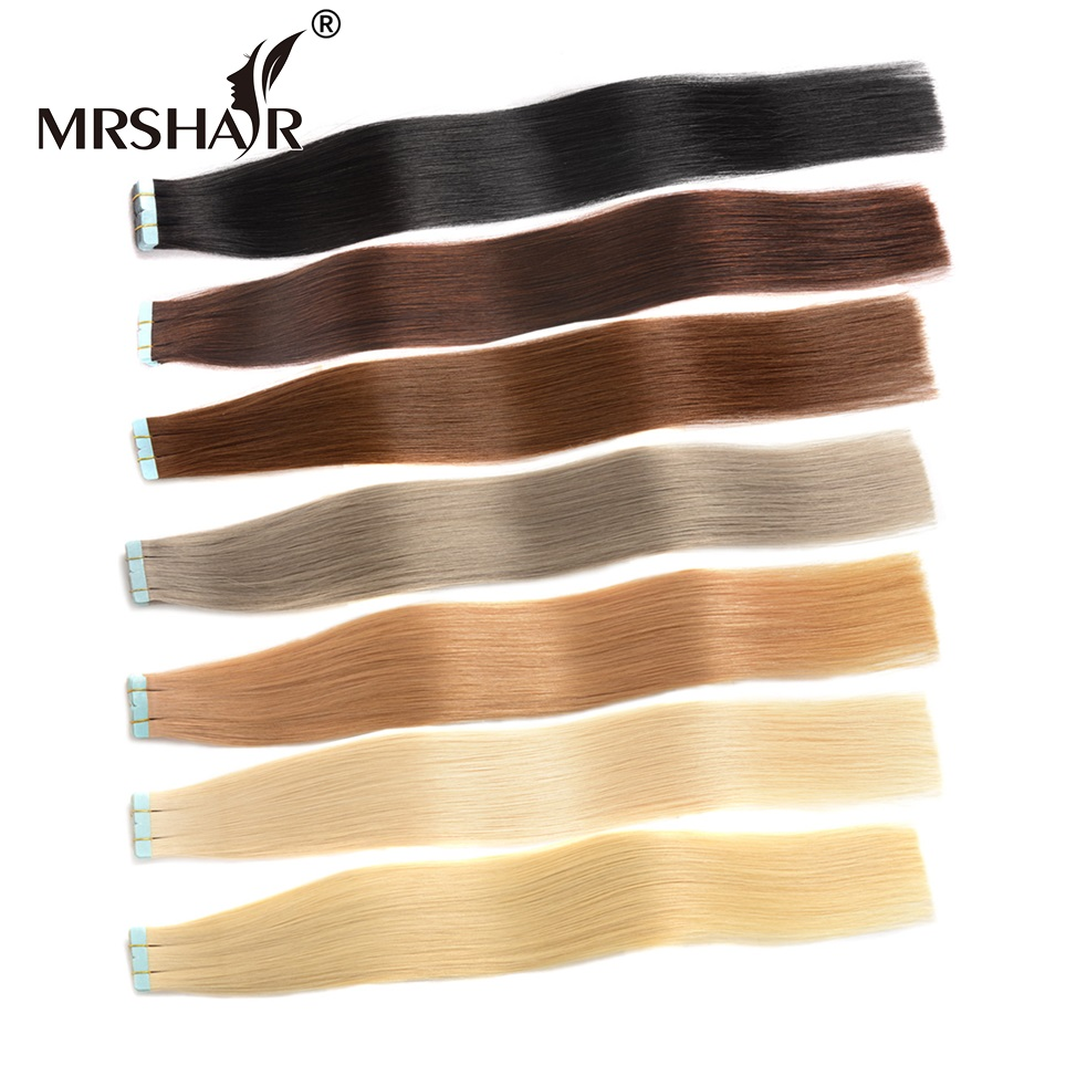 Online get cheap european tape extensions aliexpress mrshair remy tape in hair extensions 20pcs cuticle remy human hair on tape seamless hair extensions european 16 18 20 22 24 pmusecretfo Gallery