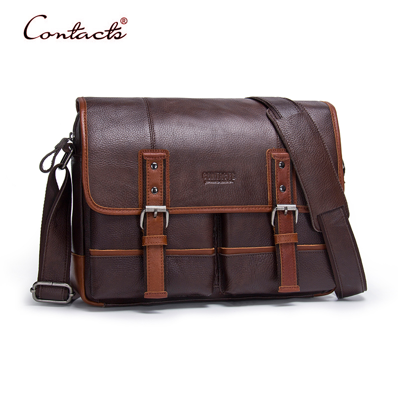 CONTACT'S Men Handbags Shoulder Bags Genuine Cowhide Leather Crossbody Tote Bag Casual Business High Quality 2017 New Brand Hot genuine leather crossbody messenger shoulder bag men business cowhide tote high quality travel casual male bags lj 962