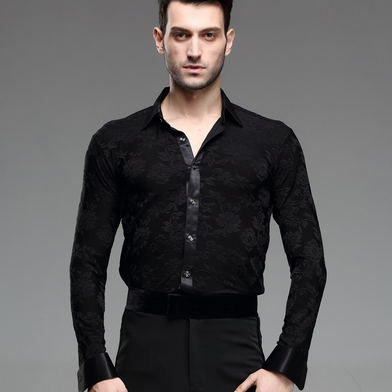 New Arrival Men Ballroom Dance Shirt Red White Black Dance Top Shirt Collar Swallow Collar Man Latin Dance Jacket B 5986 in Latin from Novelty Special Use