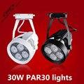 1 unidades/lotes PAR30 holofotes loja de roupas LEVOU luz pista holofotes lâmpadas PAR 30 W superfície montado levou luzes da trilha