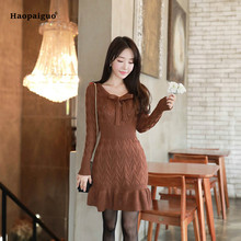Solid Women Spring Pencil Dress Brown Full Sleeve O-neck Bow Ruffles Casual Knitted Short Dress Elegant Sweater Dress Sukienka цены