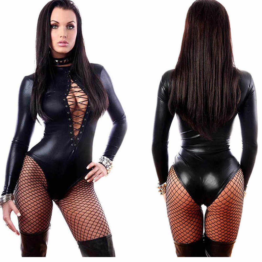 Plus Size 5XL Sexy Women PU Leather Bodysuits Erotic Leotard Costumes Rubber Flexible Latex Catsuit Catwomen Wetlook Clubwear