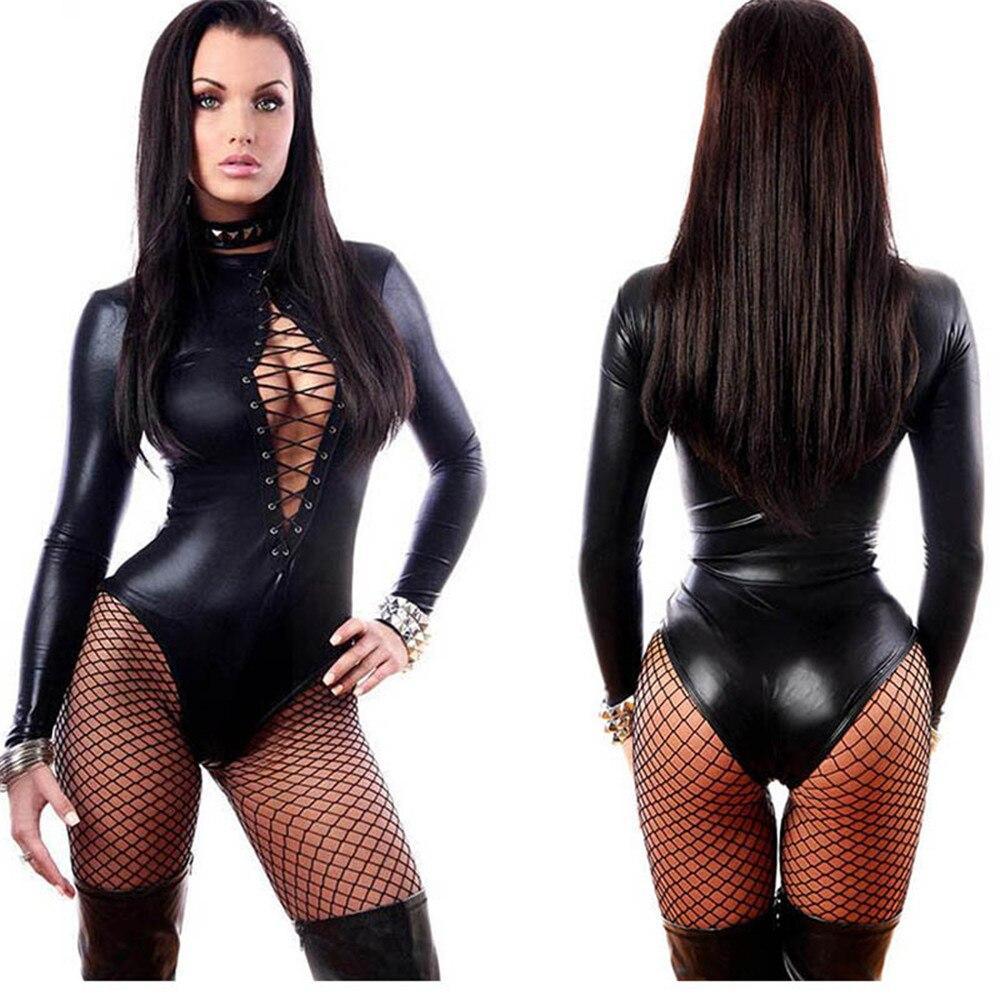 Plus Size 5XL Sexy Women PU Leather Bodysuits Erotic Leotard Costumes Rubber Flexible Latex Catsuit Catwomen Wetlook Clubwear