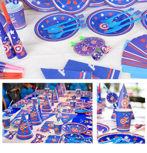 The Avengers Party Decorations Kid Boy Birthday Supplies Captain Tableware Plate Cup Napkins Horns Straw Candles Flag Set