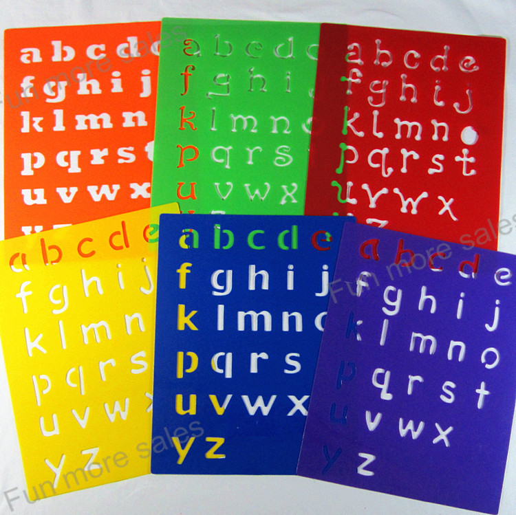 6designs stencils kids small alphabet letter drawing templates diy children educational hot toys plastic painting boards - Kids Drawing Stencils