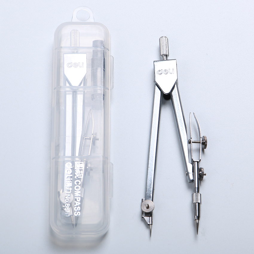 1PC Affordable New School Stationery Drawing Tool Silver Tone Metal Stainless Steel Drafting Compasses