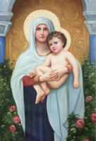 100%HandPainted High Quality Figure Canvas Painting Virgin Mary Mother of God Oil Painting Wall Picture Painting for Living Room