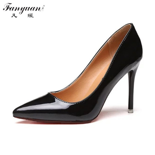 Fanyuan Nude Pumps Women High Heel 10CM Pointed Toe Elegant Stiletto 2017 New Ladies Thin Heels Wedding Shoes Purple Party Pump