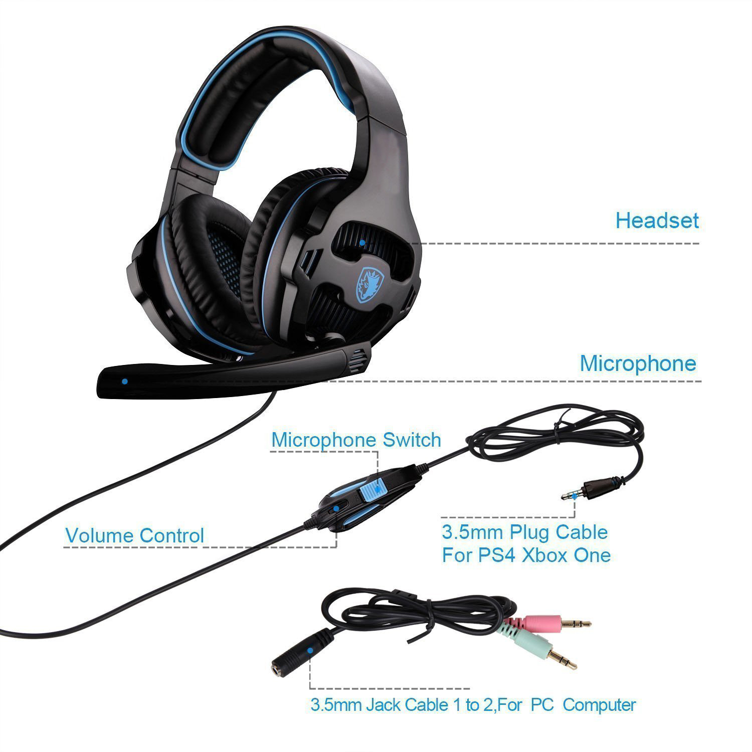 US $24 99 |Gaming Headset Single 3 5mm Jack Gamer Headphones with  Microphone,PC Adapter for New Xbox One/PS4/PlayStation 4 Laptop Phone-in