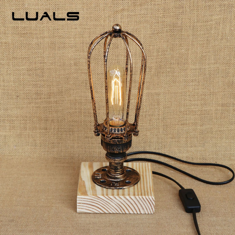 Iron Lampshade Retro Table Lamp Loft Industrial Deco mesa Desk Lamp For Cafe Bar Edison Desk Light 3 Lamp Indoor Art Lighting american loft vintage retro industrial water pipe table light edison t185 desk accent iron lamp cafe bar club bedroom