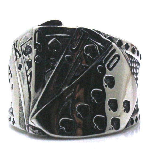 Men's Stainless Steel Poker Themed Ring