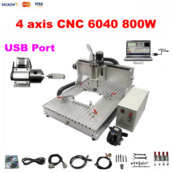 USB PORT 800W cnc router 3d 6040 desktop cnc machine 4 axis for wood acrylic plastic MDF jft new arrival high speed 4 axis 800w affordable cnc router with usb port precision drilling machine for woodworking 6090