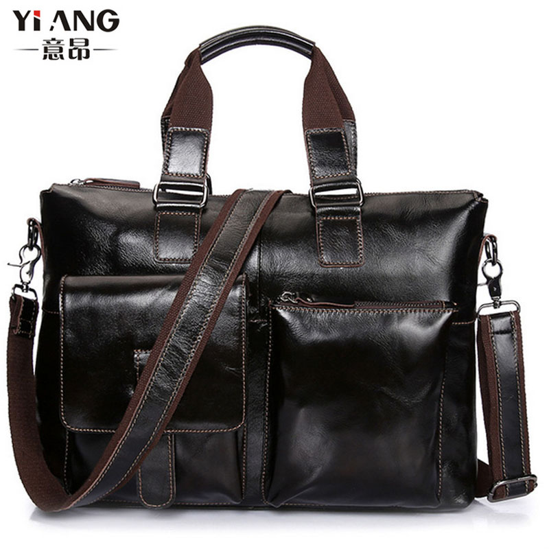 Men Vintage Oil wax Genuine Leather Cowhide High Quality Handbag Briefcase Business Messenger Shoulder Bag handbags New high quality genuine leather men bag crocodile leather men handbag business shoulder bag briefcase messenger bag cowhide 5017