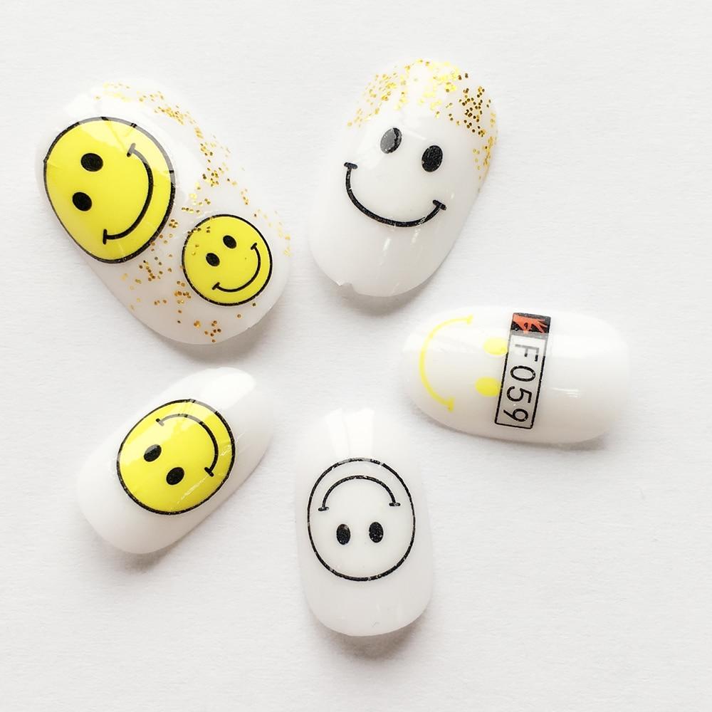 1 Blätter Lächeln Gesicht Gelben Emoji DIY Schablonen 3D Nagel ...