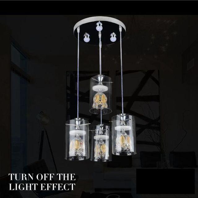 Moderne creatieve bloemblaadje kristalglas woonkamer led hanger ...