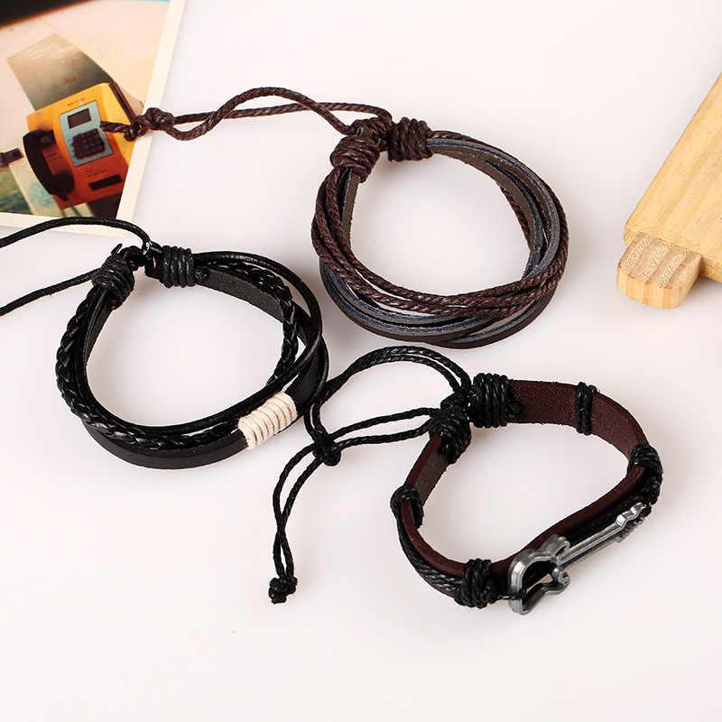 Hiphop Leather Bracelet stainless Steel Guitar Wrap Bracelet Men Wood Beads Rock Bracelets & Bangles Women Fashion Jewelry 2019