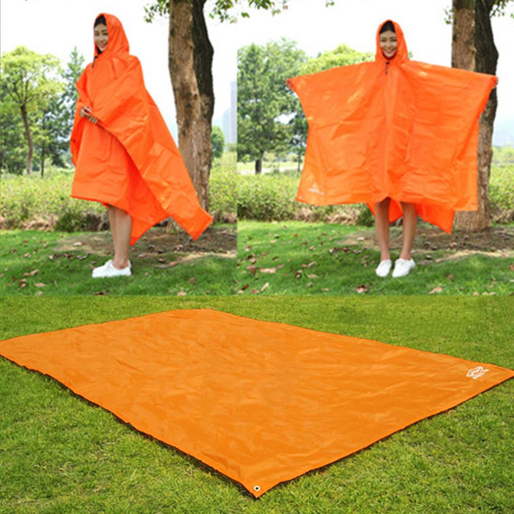 3 In 1 Multifunctional Raincoat Outdoor Travel Rain Poncho Rain Cover Waterproof Tent Awning Camping Hiking Sleeping Bag Sports & Entertainment Camp Sleeping Gear