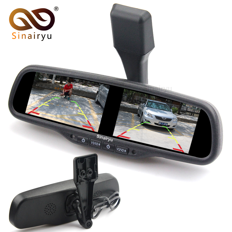 Sinairyu 4.3 Inch Dual HD 800*480 Display Screen Car Rear View Parking Mirror Monitor with 4 Video Inputs Original Bracket