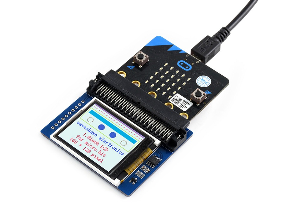 Waveshare 1.8inch colorful display module for micro:bit,160x128 pixels,ST7735S driver,Display color: RGB,65K color SPI interface