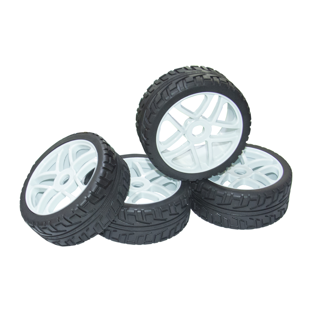 4PCS 1:8 RC On Road Car Buggy Rubber Tyre Tires  White Plastic RC Car Wheel Rims Street Tyres For HUB HEX 17mm Have Foam Inserts