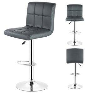 Image 2 - JEOBEST 2 יחידות אפור עור מפוצל מסתובב בר צואה כיסאות גובה מתכוונן דלפק פאב כיסא כיסאות הבר הגבוהים מודרני סגנון HWC