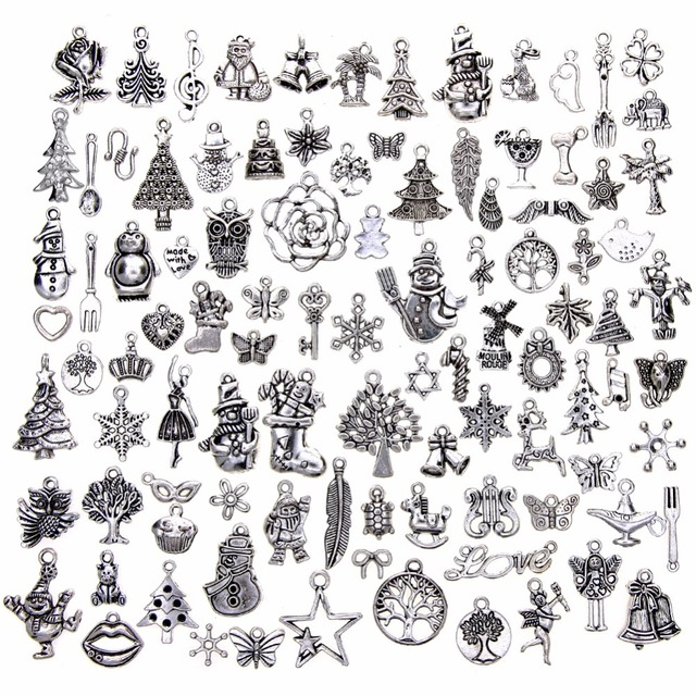 100 Pcs/Set Mix Antique Silver Christmas Tree Santa Snowflake Stocking Cane Char