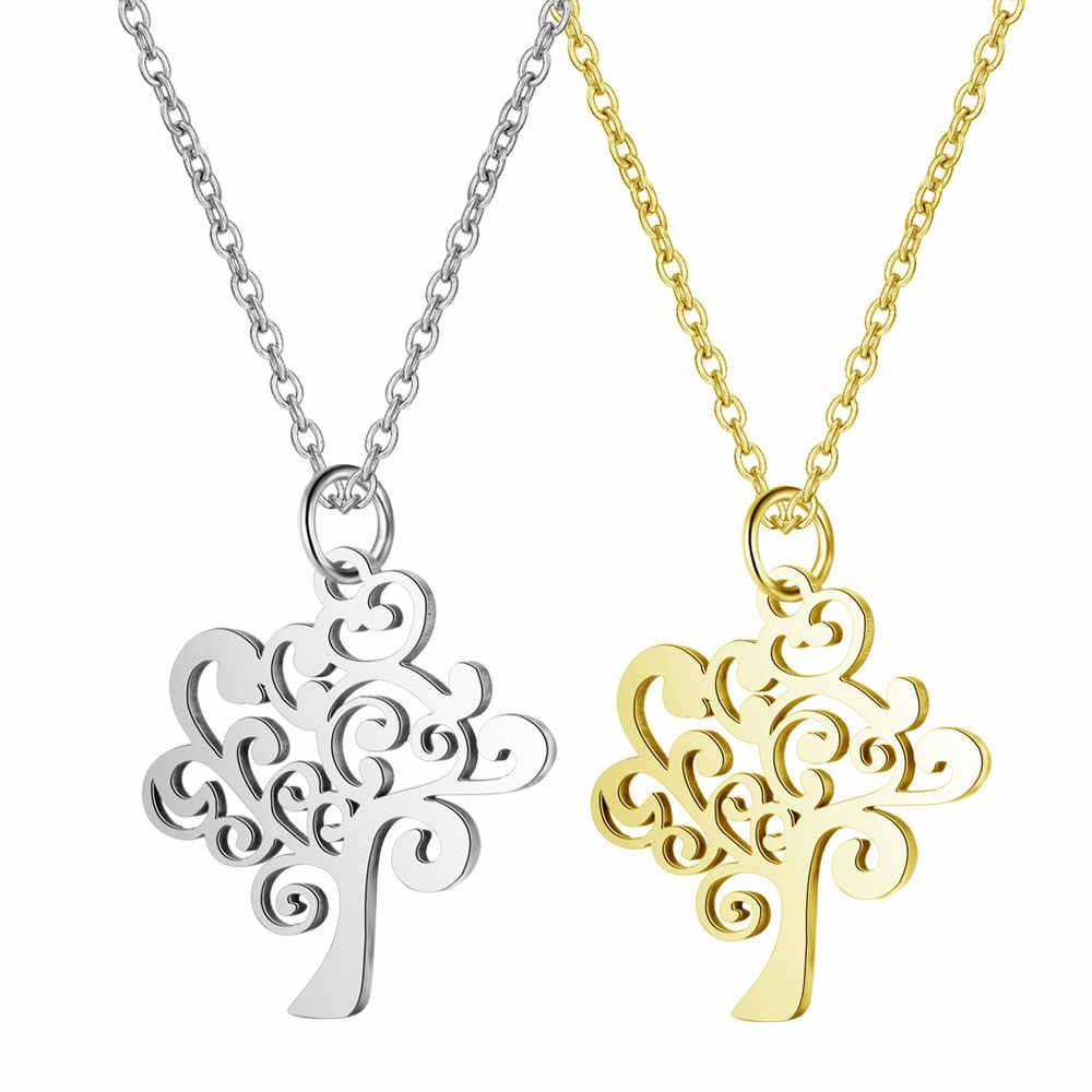 AAAAA คุณภาพ 100% สแตนเลสสตีลต้นไม้ Charm สร้อยคอผู้หญิงของขวัญพิเศษไม่เคยเสื่อมสภาพเครื่องประดับสร้อยคอภาษาโปลิชคำ