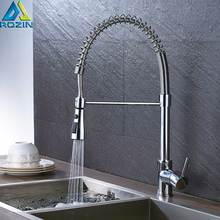 Polished Chrome Swivel Spout Kitchen Sink Mixers Faucet Deck Mounted Spring Pull Down Faucet Taps Bathroom