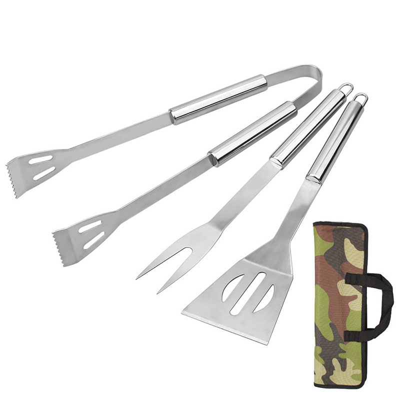3pcs BBQ Tool set Portable Stainless steel Barbecue Fork Food Tong Spatula BBQ Accessories Cooking set Outdoor Picnic Utensils