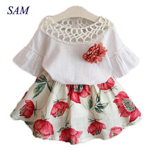 2018 Summer Fashion Girls Clothing Sets Kids Baby Wear Printed Flower Short Sleeve Tops Dresses Children