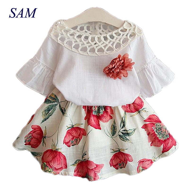 2019 Summer Fashion Girls Clothing Sets Kids Baby Wear Printed Flower Short Sleeve Tops + Dresses Children Brief Clothes Suits