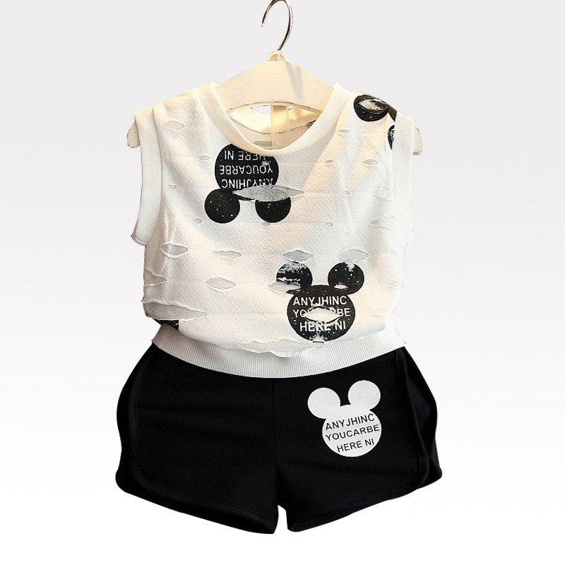 Boys Clothing Sets Letter Print Cute Cartoon Casual Children Outfits Holes T-Shirt+Pants 2 Pcs Child Clothes Fashion Kid Suits