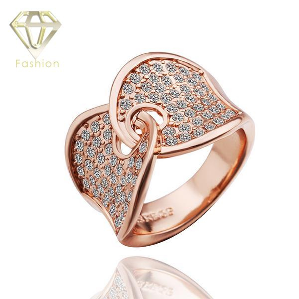 Plated Rose Gold Engagement Ring Punk Design Hand in Hand Shaped