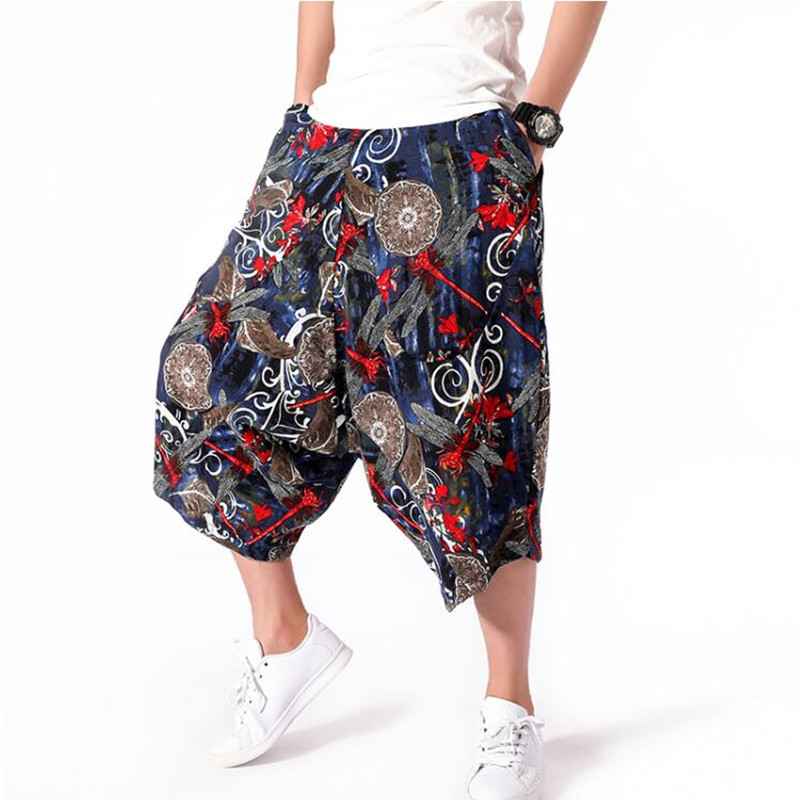 Men: New Haroon Midriff Shorts Sell Like Hot Ethnic Baggy Shorts Cotton Linen Floral Shorts