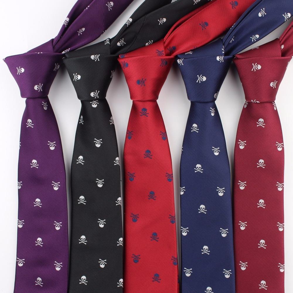 Formal Narrow Size Necktie Groom Gentleman Ties Men Skull Party Polyester Halloween Silk Horrific Gravata Slim Arrow Tie