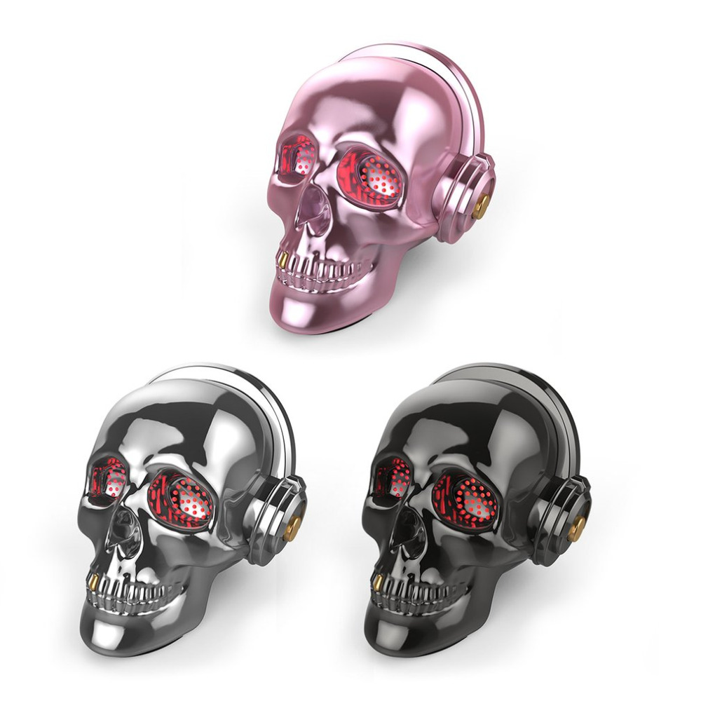 new skull shaped bluetooth speaker stereo bass music mini portable audio punk halloween gifts outdoor mobile - Online Halloween Music