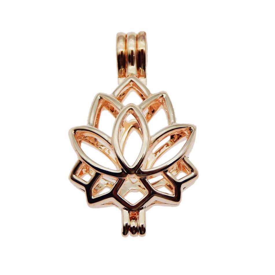 10pcs Rose Gold Lotus charm Pearl Cage เครื่องประดับทำลูกปัดจี้ Aroma น้ำมันหอมระเหย Diffuser Locket สำหรับ Oyster pearl